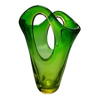 Archimede Seguso Shaded Vase with Pronounced Forati, c1958