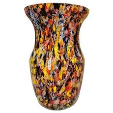 Unique Kralik Spatter Glass Vase, Czech 1930s