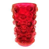 "Blenko Wayne Husted ""Bubble Wrap"" Vase #6041 - Brilliant Red!"