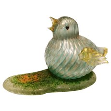 Fine Barovier Sparrow on Rugiadoso base, Midcentury Murano