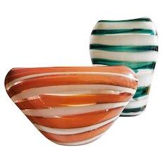 Floris Meydam Pair of Serica Vases for Leerdam c. 1953
