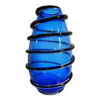 Large Blue Murano Vase With Sommerso Detail