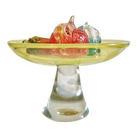 Large Cenedese Vaseline Glass Pedestal Bowl with Barbini Fruit, Vintage Murano