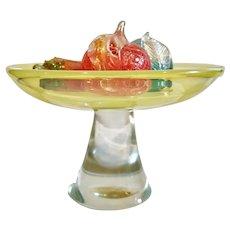 Large Cenedese Vaseline Glass Pedestal Bowl with Barbini Fruit, Vintage Murano