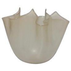 Fazzoletto (Handkerchief) Vase in Alabastro Glass, Midcentury Murano