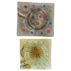 """Vintage Higgins Pair of Ashtrays, """"Barbaric Jewels"""" and Flower models, 1957-64"""