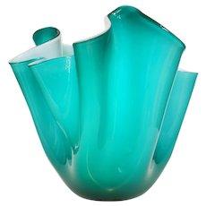 Very Large Venini Fazzoletto (Handkerchief) Vase, Vintage Murano