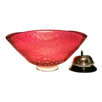 Ercole Barovier Red Iridized Bowl with Silver Leaf