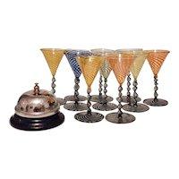 10 Cocktail Glasses, 1920's Bimini Werkstatte (Austria)