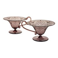 Vittorio Zecchin/ Guido Balsamo Stella/ Franz Pelzel Pair of Engraved Soffiati Cups, Very Rare