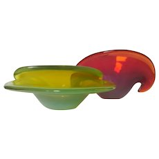 1960s Cenedese Opalescent Uranium Clam Shell Bowls, Great Colours
