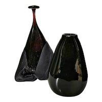 Two Circa 1970s Art Glass Black Vases