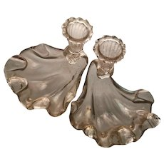 Gorgeous Pair of Ercole Barovier Candleholder/Bowls c1940s