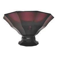 Austrian Secessionist Deep Violet Hand Cut Pedestal Bowl, c1920