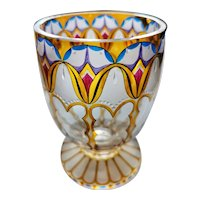 Fachschule Steinschonau Vase, Beautifully Etched and Enamelled, Bohemian Art Nouveau