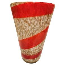 Fratelli Toso Large Aventurine and Red Stripe Vase