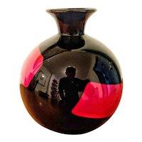 "Archimede Seguso ""Rosso Nero"" Vase c. 1990"