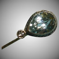 Edwardian Aquamarine and Diamond 14k White Gold Stick Pin