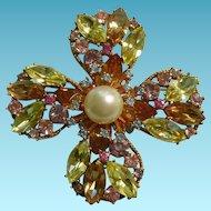 Trifari Flower Brooch Pastel Rhinestones Faux Pearl 50's