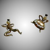 Trifari Figural Tasha and Sasha Pins Sterling Silver Brooch
