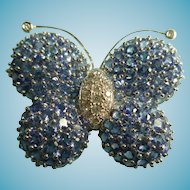 Large 18k Diamond and Tanzanite Gem Butterfly Brooch Figural Brooch