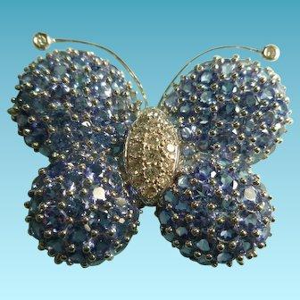 Large 18k Diamond and Tanzanite Gem Butterfly Brooch Figural Brooch
