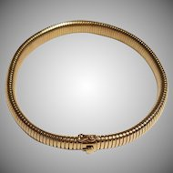 14k Gold Choker Necklace Tubogas Collier de Chien  or Dog Collar