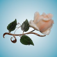 Large Hand Carved Coral Rose Brooch with Jade Leaves 18K
