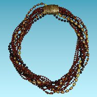 Vintage Fall Selini/Selro Torsade Plastic Necklace Brown Warm Colors