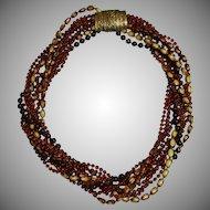 Vintage Fall Selini/Selro Torsade Plastic Necklace Brown Warm Colors