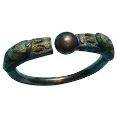 Antique Chinese Double Dragon Bracelet Chinese Silver and Enamel Chinese Export