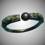 Antique Chinese Export Silver Bracelet Dragon Chasing a Pearl Bracelet Chinese Silver and Enamel Chinese Export