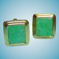 585 14k Jade Cuff Links  Stepped Border