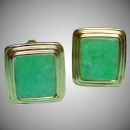 Vintage 14k Jade Cuff Links  Stepped Border