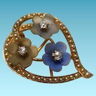 14k gold and diamond Art Nouveau Brooch Pendant Flowers Heart