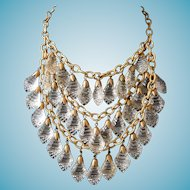 Miriam Haskell Crystal Bib Necklace 30s - 40s Statement Piece Russian Gold Gilt