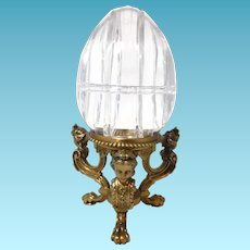 """Large 11"""" Crystal Egg Box with Figural Ladies Head Pairpoint Stand 1430"""
