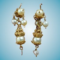 Antique Pearl and 12k  Pendeloque Earrings Cannetille