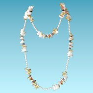 "Miriam Haskell Necklace with Faux Shells and Glass Beads 60"" Length"