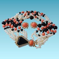 Kenneth Lane Necklace Set KJL Art Deco Inspired Faux Diamonds Pearls Onyx and Coral