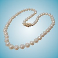 "8mm Cultured Akoya Pearl Necklace 20"" Strand Large 14k Clasp"