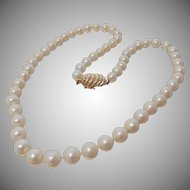 "8mm Cultured Pearl Necklace 20"" Strand Large 14k Clasp"