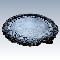 """Antique Sterling Silver Tray 10"""" 1902 Birmingham Ornate Footed"""