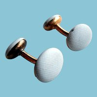Art Deco 14k Gold White Enamel Cufflinks Cuff Links Cuff Buttons