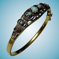14k Victorian Edwardian Bangle Bracelet Opals