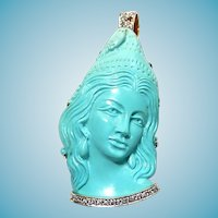 18k Natural Turquoise Hand Carved Cameo with Diamonds Brooch Pendant