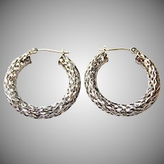 14k White Gold Hoops Open Weave