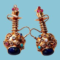 12k Gold Earrings Hookah Lapis Turquoise Egyptian