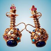 12k Gold Earrings Hookah Lapis Turquoise Egyptian