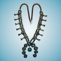 Large Turquoise Squash Blossom Necklace Sterling Kee Cook